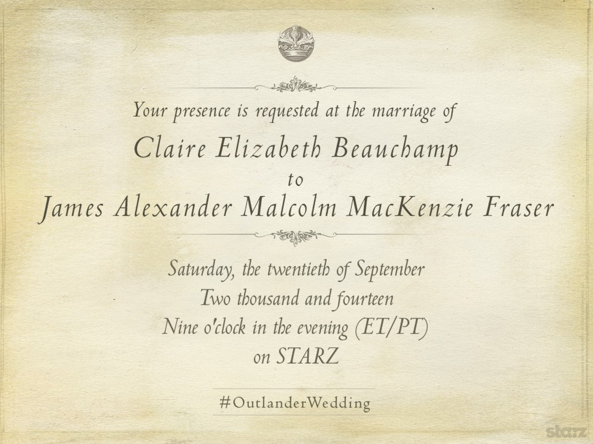 Starz Outlander Wedding Invite