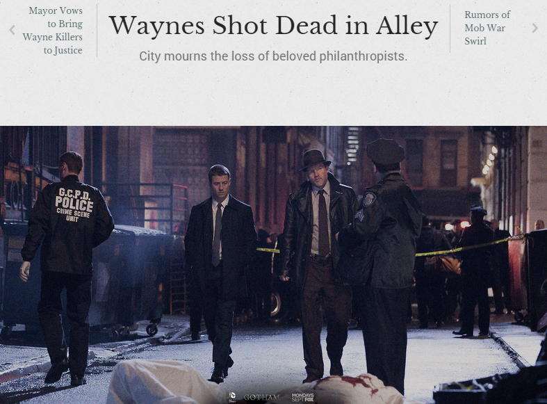 Gotham Chronicle Story - Waynes Shot Dead